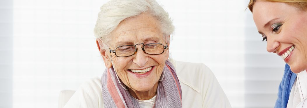 Care for older people - dementia care - lady and carer photos